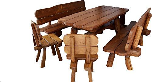 Rustikale Gartengarnitur aus Massivholz | Gartenmöbel aus Tannen- und Eichenholz | Sitzplätze: ca. 8 Personen | Tisch, 2 Bänke, 2 Stühle