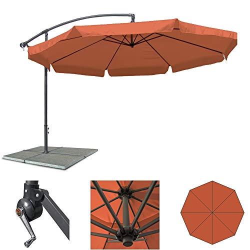 JOM Ampelschirm 350 cm Sonnenschirm Gartenschirm Terassenschirm mit Kurbel verstellbar UV Schutz