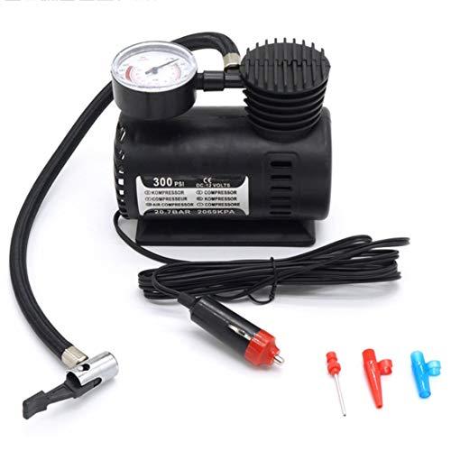 Mini compresor de aire Bomba eléctrica ABS Automotriz Durable Vehículo Bomba de aire 300 PSI Bomba de inflado de neumáticos DC 12V Piezas de automóvil - Negro