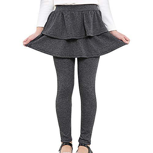 Auranso Girl Footless Leggings with Ruffle Tutu Skirt Pants Dark Grey 7-8 Years