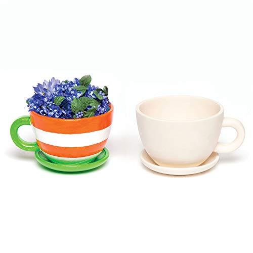 Baker Ross AC624 Keramik-Blumentöpfe Tasse & Untertasse(2 Stück)