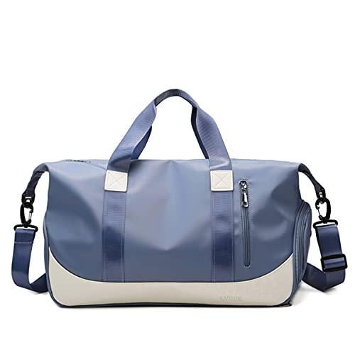 Bolsa de deporte de moda en 8 colores con compartimento para zapatos y compartimento mojado, bolsa de deporte, fitness, yoga, bolsa de gimnasio, bolsa de entrenamiento, viaje de ocio, Azul profundo.,