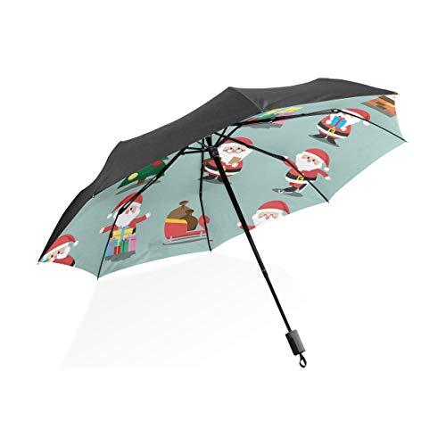 Ombrello Regali natalizi Babbo Natale 3 pieghe leggero anti-UV