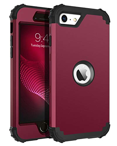 BENTOBEN iPhone SE 2020 Phone Case, Heavy Duty 3 in 1 Full Body Rugged Shockproof Hybrid Hard PC Soft Rubber Bumper Drop Protective Girls Women Boy Men Cover for iPhone SE 2nd 2020, Wine Red/Burgundy