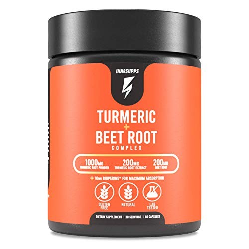 Organic Turmeric and Beet Root Complex - Bioperine (Black Pepper Extract for Maximum Absorption), Reduce Inflammation, Improve Gut Health & Joint Pain, Potent Antioxidant - 60 Veggie Capsules