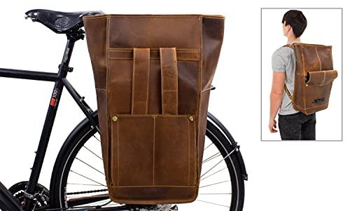 Gusti Fahrradrucksack Leder - Gareth T. Rucksack Gepäckträgertasche 2-in-1 Fahrradtasche Braun