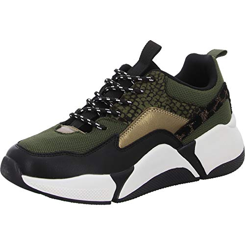 BULLBOXER Damen Sneaker, Frauen Low Top Sneaker,Halbschuh,Schnürschuh,Strassenschuh,Freizeitschuh,Wedge Sneaker,Keil-Absatz,Grün,38 EU / 5 UK