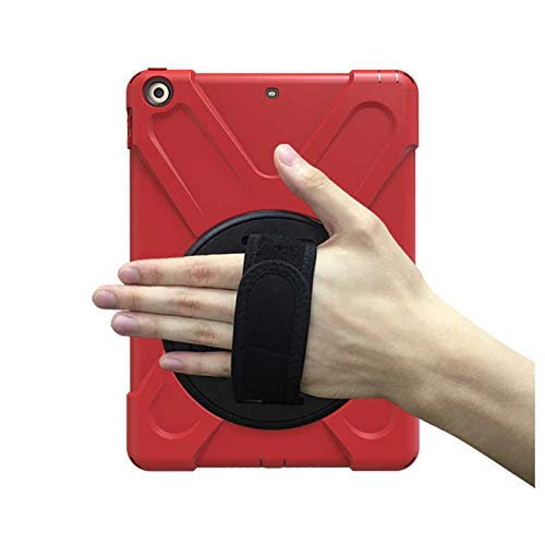 GHC PAD Cases & Covers For iPad 9.7 2018, New 360 Armor Case 360 Rotation Hand Strap Silicon PVC A1893 A1954 Kids Cover for iPad 2018 9.7 (Color : Red)
