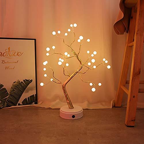 ASNMSL Luz Nocturna de Árbol de Bonsai de 20 Pulgadas con Estrellas, Blanco Cálido, 108 Luces Led, Alimentada por Batería O Adaptador de CC (No Incluido)
