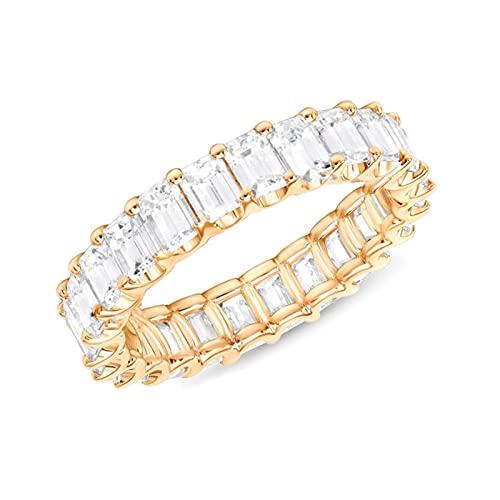 ZJXPYXN Anillo de la joyería de la Boda de Compromiso de Las señoras (Main Stone Color : Gold Color, Ring Size : 7)