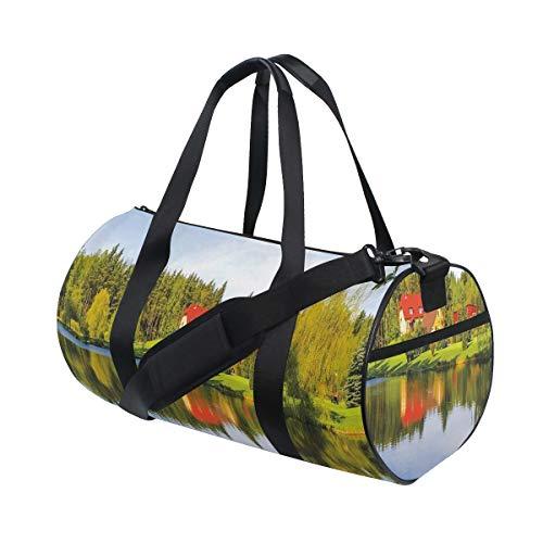 HARXISE Bolsa de Viaje,Casa en el Bosque Riverside Agua Reflejo Árboles al Aire Libre Temporada de otoño,Bolsa de Deporte con Compartimento para Sports Gym Bag