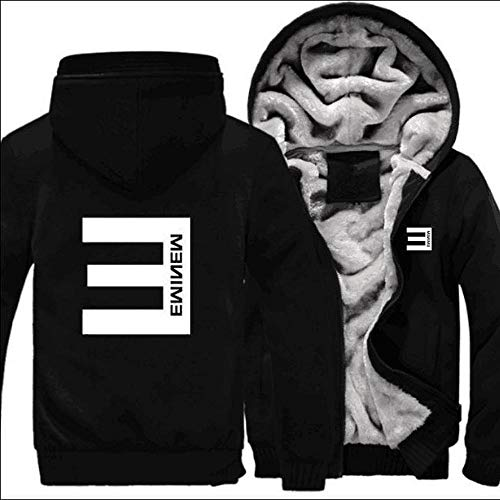 WQLESO Eminem Hoodie Mens Plus Velvet Padded Cardigan Jacke Winter-Warmer Boys Sports Tops,D-XXXXL