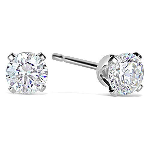 Isabella Silver London 925 Solid Sterling Silver Round Stud Earrings made with Swarovski Zirconia - Clear