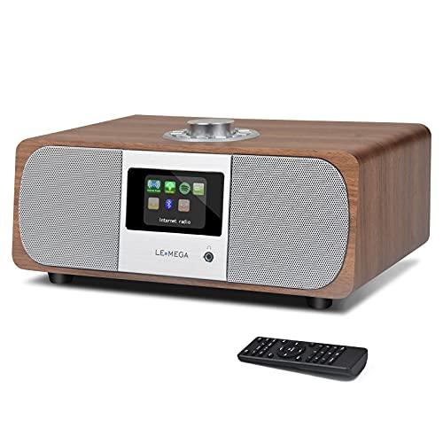LEMEGA M3P 20 Watt Stereo Internetradio (DAB+/UKW-RDS,Digitalradio mit Bluetooth,Spotify Connect,WLAN,LAN,Subwoofer,Fernbedienung und App,AUX,Radiowecker mit Dual-Alarm,Farbdisplay) -Nussbaum