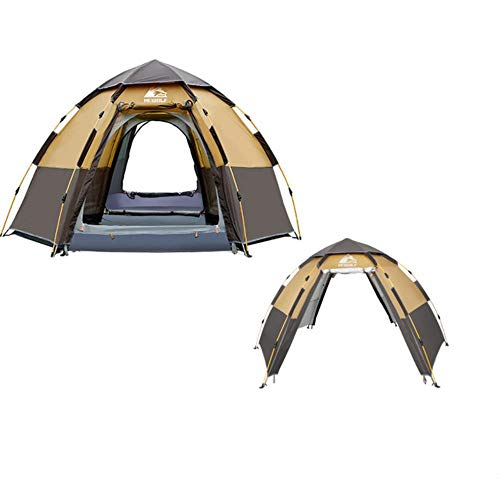 HEWOLF Pop Up Tent Quick Automatic Opening Waterproof Tourism Travel Outdoor Tent 5 Person Double Layers Family Camping Tents with Carry Bag,Brown