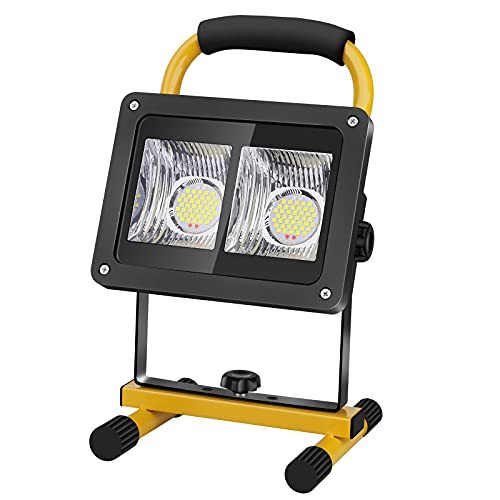 Coquimbo 40W Foco LED Bateria Recargable, Foco LED Bateria Exterior 2000LM, 360°Giratorio Portátil Luz de Trabajo para Jardín, Taller, Garaje, Camping, Obra