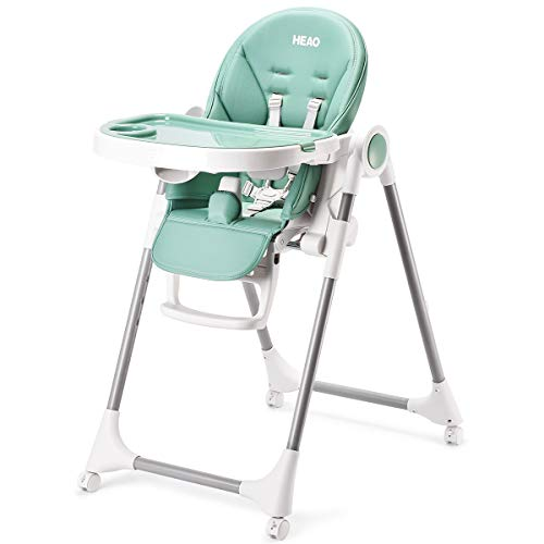 HEAO High Chair for Babies & Toddlers, 4-in-1 Convertible Highchair, with Adjustable Height, Tray, Backrest & Footrest, 360° Rotating Wheels with Brake, Foldable & Portable Green