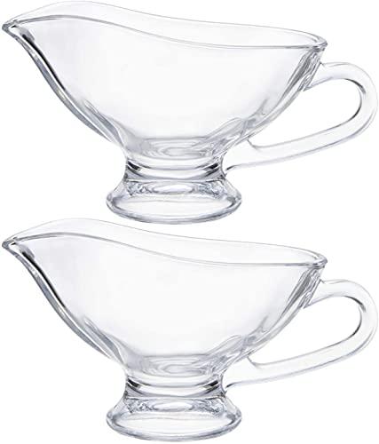 Yesland Juego de 2 cuencos de 330 ml, salsas, jarra de cristal con asa, cuencos para servir nata, tetera, salsas para filetes, leche, para restaurantes, comidas festivas y fiestas