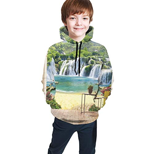 Kjiurhfyheuij 3D Print Teens Pullover Hoodies Lovely Terrace Views Waterfall Fleece Hooded Sweatshirt for Boys Girls Black