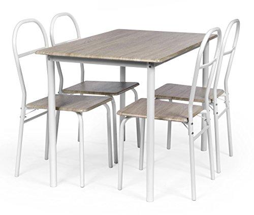 ts-ideen Set di 5 Pezzi Sala da pranzo con 4 Posti Tavolo da Cucina con Talaio in Metallo Tavolo in Fibra di Legno