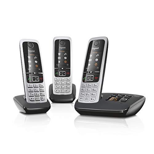Gigaset C430A Trio 3 schnurlose Telefone mit Anrufbeantworter (DECT Telefon mit Freisprechfunktion, klassische Mobilteile mit TFT-Farbdisplay) schwarz-silber