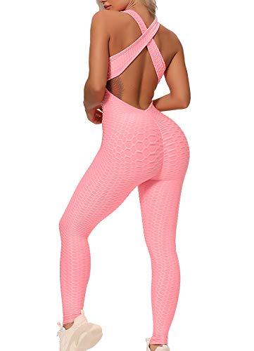 STARBILD Leggings Mallas Deporte de una Pieza para Mujer Sexy Pantalones Texturizados Elásticos con Espalda Abierta para Yoga Fitness #Classic-Rosa S