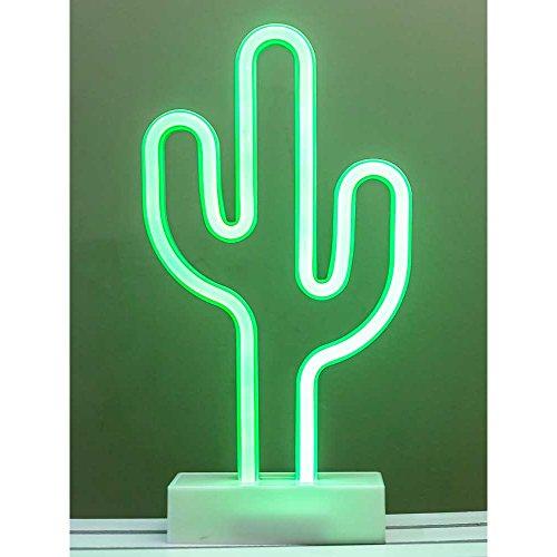 HAB & GUT -L232- Lampara-Cactus de Neon con Luz Led Verde a Baterias para Escritorio