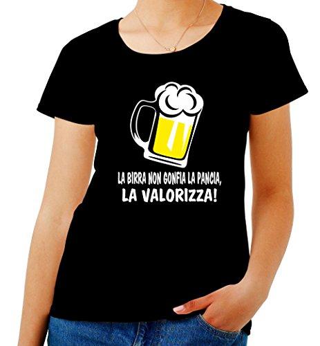 T-Shirt Donna Nero T0990 LA Birra Non GONFIA LA Pancia LA VALORIZZA Bevande Sballo