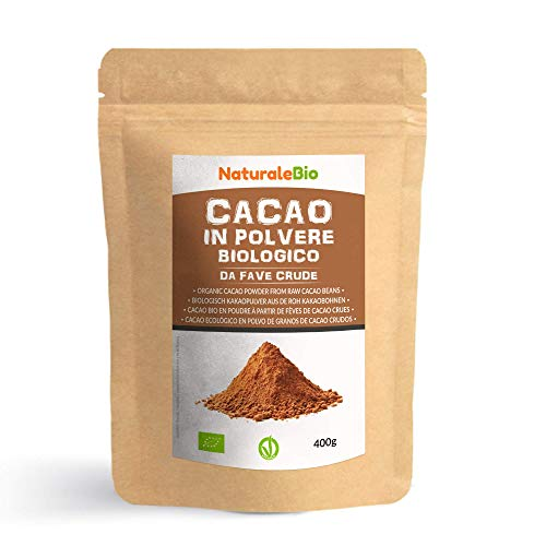 Cacao Biologico in Polvere 400g. 100% Bio, Naturale e Puro da Fave Crude. Prodotto in Perù dalla Pianta Theobroma Cacao. Lavorato a basse temperature. Fonte di Magnesio e Fosforo. NaturaleBio