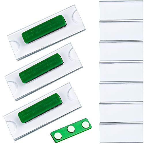 KUPINK 10pcs Magnetic Name Badge ID Holders Fastener with 3M Adhesive on Front Plate,Strength Neodymium Magnets
