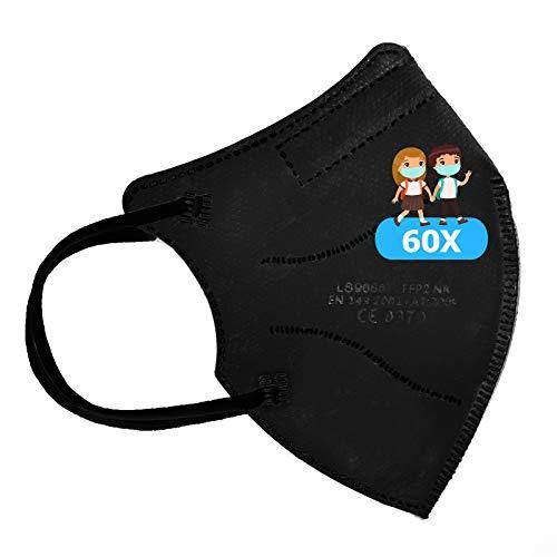 TBOC Mascarillas FFP2 Infantiles [Pack 60 Unidades] Máscaras Desechables para Niños [Color Negro] Cinco Capas [No Reutilizables] Transpirables Plegables con Pinza Nasal [Certificadas y Homologadas]