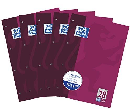 Oxford Schule Schulblock A4, kariert mit Rand rechts und links, 50 Blatt, violett, 5er Pack