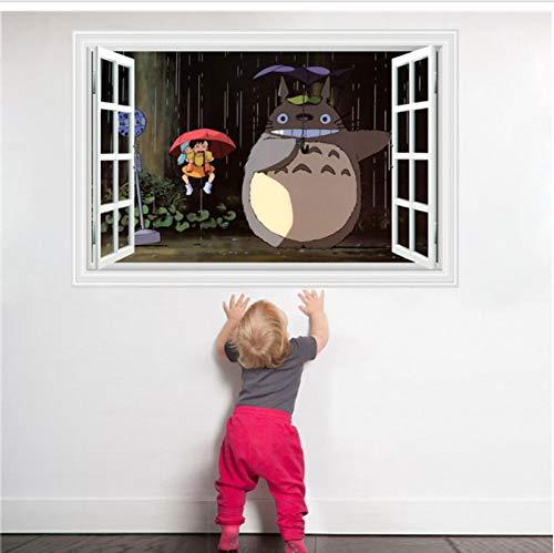 hfwh Pegatinas De Pared, 3D Ventana Estereoscópica Totoro Naughty Play Miyazaki Animación Dormitorio Dormitorio Sala De Estar Mural 60x90cm