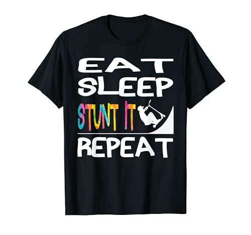 Eat Sleep Stunt it Repeat Trottinette acrobatique Enfants T-Shirt