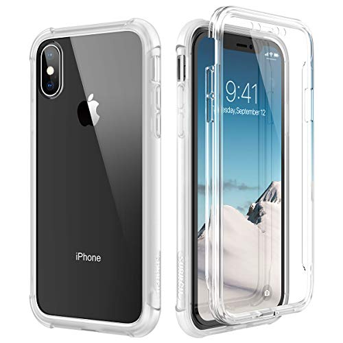 SURITCH Clear iPhone Xs Case/iPhone X Case, [Built-in Screen Protector] Full-Body Protection Hard PC Bumper + Glossy Soft TPU Rubber Gel Shockproof Cover for iPhone Xs/iPhone 10 (Clear)