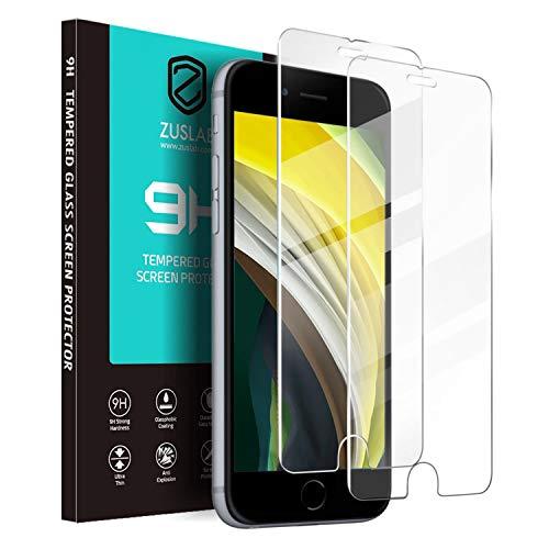 ZUSLAB (2 Paquetes Vidrio Templado Compatible con iPhone SE 2020/iPhone 7/iPhone 8 Protector de Pantalla con Reconocimiento de Dedos Sensibles - Transparente