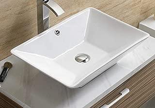 Bathroom White Ceramic Porcelain Vessel Vanity Sink 7880 +FREE Chrome Pop Up Drain/Over flow