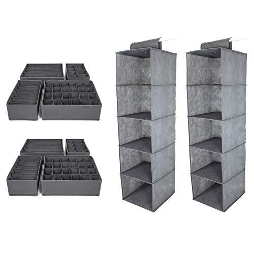 SB Trading - XXL Set 2 x Schrank Organizer inkl. 8 x Schubladen Ordnungssystem Stoff Grau - Kleiderschrank Hängeregal schmal & stabil mit Aufbewahrungs-Box - Regal Hängeorganizer mit Ordnungsbox