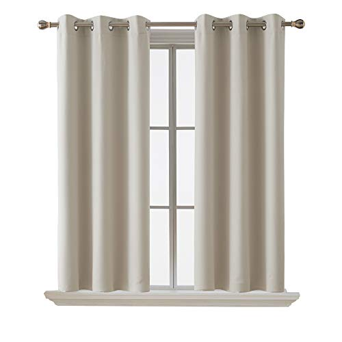 Deconovo Blackout Curtain Room Darkening Thermal Insulated Curtains Grommet Window Curtain for Bedroom Light Beige 38 x 54 Inch 2 Panels