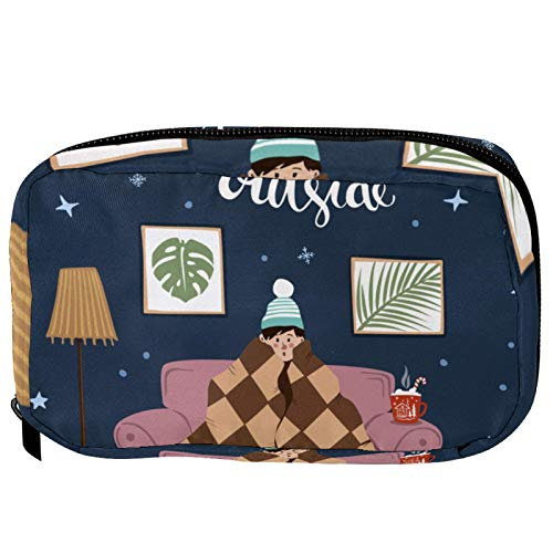 Cosmetic Bag for Women,Roomy Makeup Bags,Man Sitting on Sofa Under Blanket at Home,Travel Waterproof Toiletry Bag Accessories Organizer