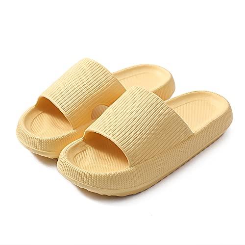 Pantuflas Almohada, Zapatillas De Baño Con Ducha De Masaje, Zapatillas Ultra Suaves Zapatillas Nube Extra Suaves Secado Rápido Antideslizante Suave Almohada Diapositivas Zapatillas,Yellow-5.5/6.5