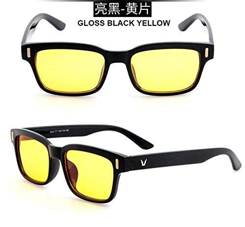 Huayuan Gafas de ordenador de rayos azules para hombre, gafas de radiación de pantalla, diseño de marca, juegos de oficina, gafas de luz azul, gafas con bloqueo UV-Amarillo Negro Brillante