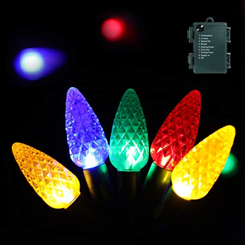 Christmas Lights, 16.4 Ft 52 Leds Strawberry Battery Operated Strings Lights 8 Modes On/Off Timer for Xmas Tree Indoor Outdoor Christmas Decorations