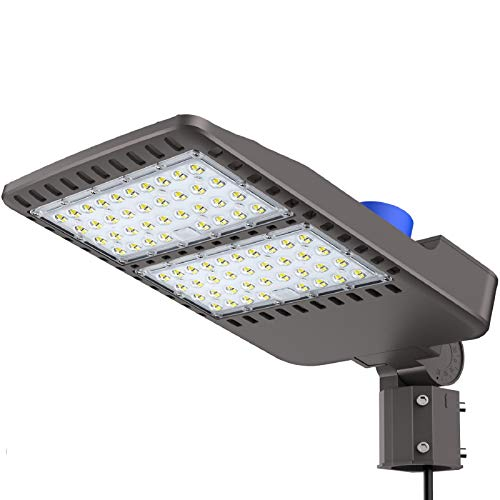 200W Led Parking Lot Light- IP66, ETL DLC Certified 26000LM Commercial LED Area Lighting, 5000k Pole Light with Dusk to Dawn Photocell- Slip Fitter, LED shoebox Light, Brown