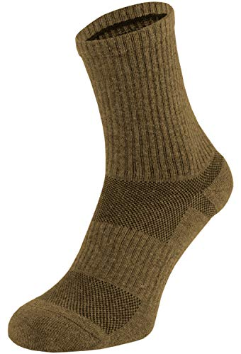 281Z Military Cotton Micro Crew Boot Socks - Cushioned Sole - Moisture Wicking - Odor Resistant - Hiking Trekking Outdoor (Coyote Brown Medium 1 Pair)