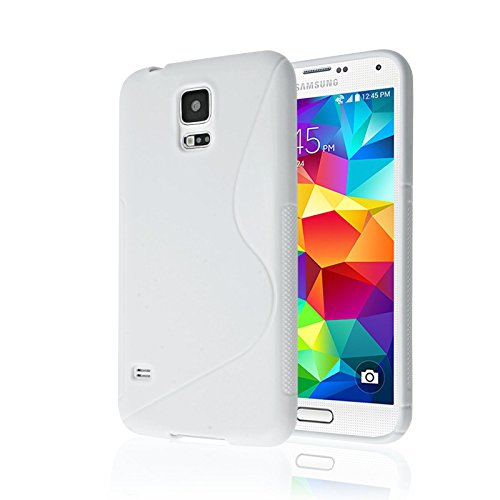 cases for samsung galaxy s5s Galaxy S5 Case, [Rubber] Galaxy S5 Case, by Cable and Case(TM) - Transparent Purple Non-Slip Soft Jelly Cover with Vibrant Trendy Colors and Sure Grip Texture (Galaxy S5) (White)