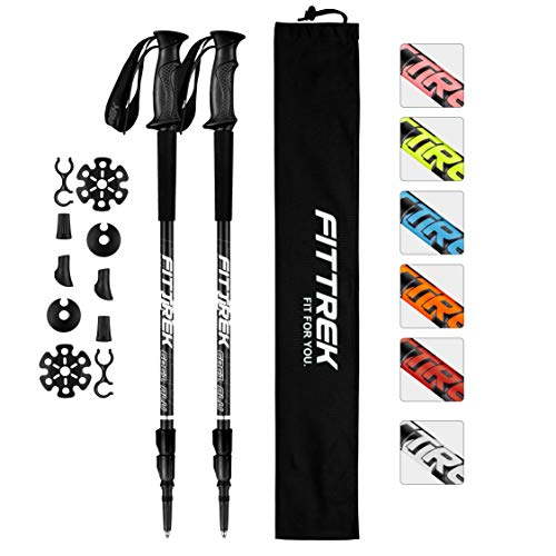 FitTrek Trekking Poles Carbon Fibre Walking Poles Hiking poles Telescopic Lightweight Nordic Walking Pole for Women Men and Kids with Walking Poles Rubber Tips and Pole Bag 1 Pair