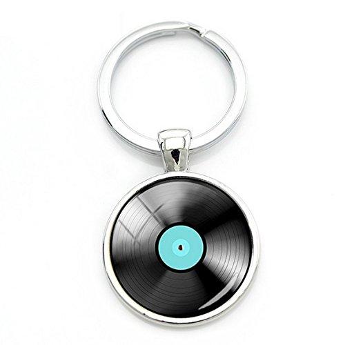Fancychain Cabochon Schlüsselanhänger Schlüsselring Taschenanhänger Vinyl Schallplatten-Spieler Retro Liebhaber Musik Schallplatte Tonträger Geschenk-Idee