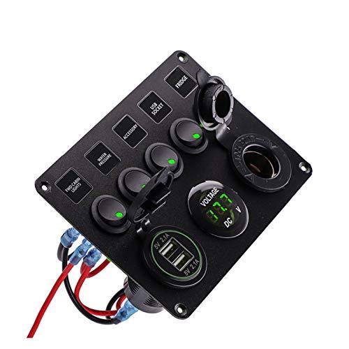 LLPing Panel de interruptor LED con doble puerto USB 12V Interruptores de control de voltímetro digital Ajuste para el ajuste de la barca de automóviles marinos para los accesorios de Caravan Camper R