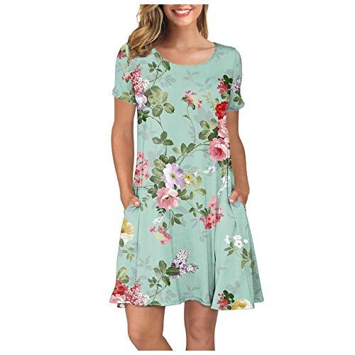 MoKFE Women's Summer Casual T Shirt Dresses Fashion Short Sleeve O-Neck Print Swing Dress with Pockets Mint Green
